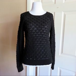 LOFT Black Crochet Sweater